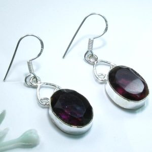 Amethyst and Sterling Silver Earrings 1.75""