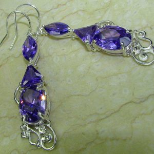 Amethyst Filigree .925 Sterling Silver Earrings