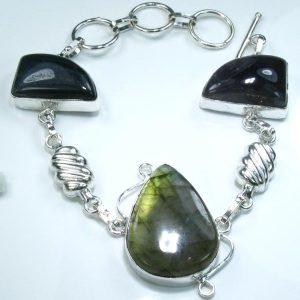 Labradorite, Amethyst & .925 Sterling Silver Bracelet