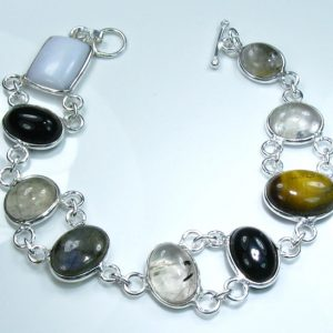 Rutilated Quartz, Tigers Eye & .925 Silver Bracelet