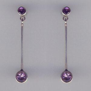 Amethyst Silver 4cm Earrings