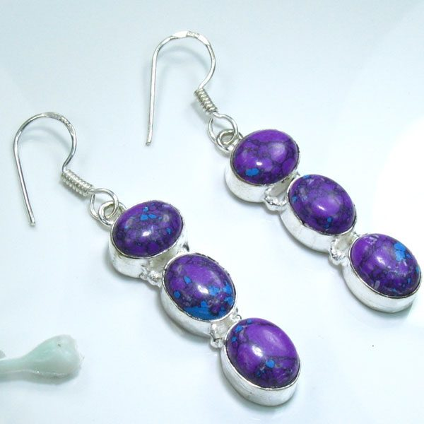 """Turquoise .925 Sterling Silver Earrings 2"""""""