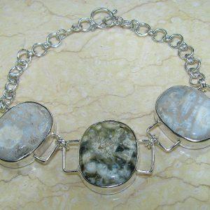 Snowflake Fossil Coral Jasper & .925 Sterling Silver Bracelet