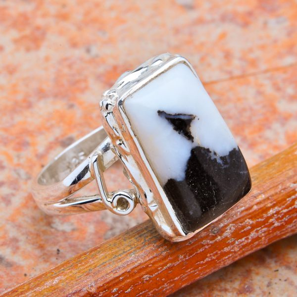 Merlinite & .925 Sterling Silver Ring - Size 7.5