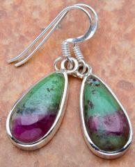 """Ruby Zoisite .925 Silver Earrings 1.5"""""""
