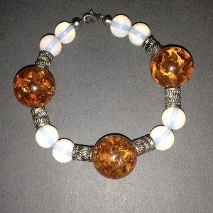 Amber Opalite & Bali Beaded Bracelet