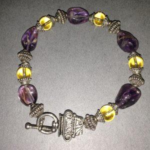 Ametrine Citrine & Bali Beaded Bracelet