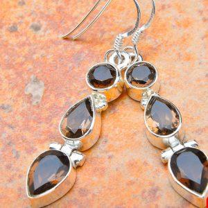 "Smoky Quartz 925 Sterling Silver Earrings 1.75"""