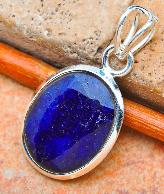 "Sapphire 925 Sterling Silver Pendant 1.5"""