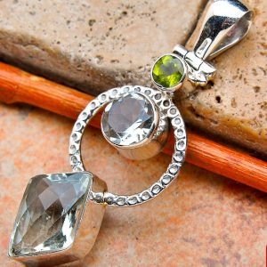 "Green Amethyst & Peridot 925 Sterling Silver Pendant 2"""