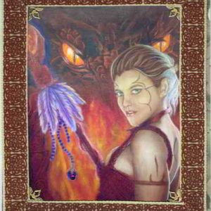 Burgundy Dragon Tamer's Pact - Fire Handmade Card