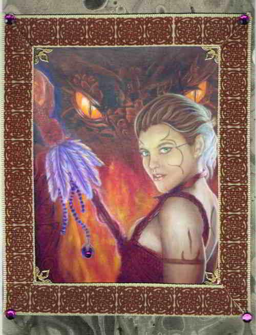 Burgundy Dragon Tamer's Pact - Fire Handmade Card