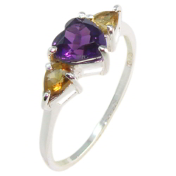 Amethyst Citrine Sterling Silver Ring - size 7